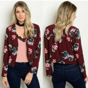 Jackets & Blazers - NEW Floral Wine Blazer Lightweight Open Jacket